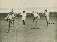 Golfing group on the green, Brisbane
