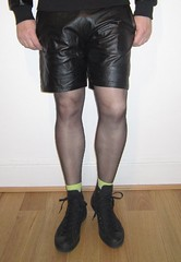 Bottom lime (Scott Martin.) Tags: gay leather converse lime nylon leathershorts leatherlook gaytights