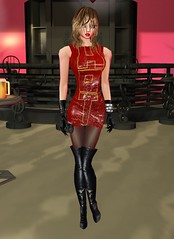 23 (SoakinJo) Tags: highheels thighboots wetlook wetclothes imvu wetdress wetboots redhotdress