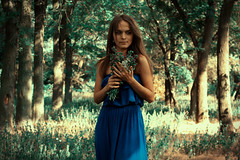 springtime (alllen.alien) Tags: flowers blue trees light summer portrait people woman flower tree green art nature girl beautiful beauty face leaves lady female forest canon hair photography photo spring interesting day alone looking view image photos outdoor walk picture pic ukraine explore springtime portreture