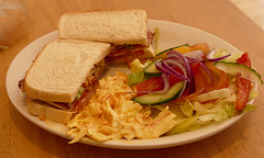 the American sandwich (forkcandles) Tags: england food lunch salad indoor sandwich function coleslaw cityandcountyofbristol fz1000 forkcandles fz1000panasoniccamera