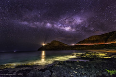 Milky Way Above Makapu 02 (Juneau Biscuits) Tags: ocean longexposure nightphotography sea beach stars hawaii nikon oahu tide nightsky reef makapuu milkyway nikond810