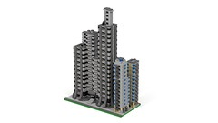 Section DownTown 4 (RedRoofArt) Tags: architecture lego moc mini pica pico building skyscraper city downtown ldd render povray micro