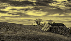 Farm and field (miroslav.tokarsky) Tags: light sky bw white house black abandoned field architecture rural landscape golden countryside skies pentax farm country dramatic tonality pentaxart