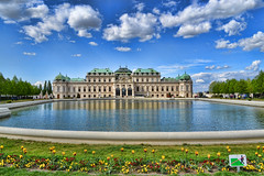 Belvedere - Wien (Can Bozkr) Tags: vienna wien lighting flowers trees cloud beautiful architecture clouds composition digital landscape austria spring interesting nikon europe view palace belvedere dslr nikondigital viyana hdr avusturya nikondslr d3100 nikond3100