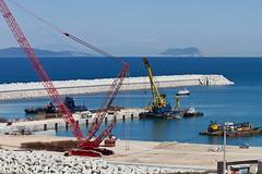 Construction in harbour west of Ksar Sghrir (Sue_Hutton) Tags: port construction harbour cranes morocco maroc gibraltar ksarsghrir march2012