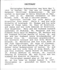 Christopher Bodensteiner's Obituary