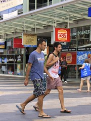 The Corso (oxfordblues84) Tags: plaza hot building men walking manly handsome australia pedestrian guys nsw flipflops shops newsouthwales stores hungryjacks pavers thecorso glasscanopy paverpatterns
