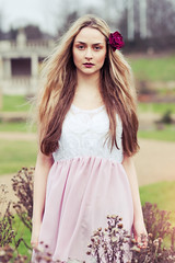 Georgina (Emily Jane Morgan) Tags: flower green girl make up rural vintage hair spring long dress magenta pearls boutique blonde bloom swine kee fascinator