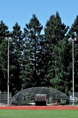 Baseball symmetry ((nz)dave) Tags: park ca blue summer sky usa game green tower field grass lights baseball outdoor geometry lawn sunny symmetry diamond redwoodcity outfield communitypark redmorton nikond300 afvrzoom70200mmf28gifed