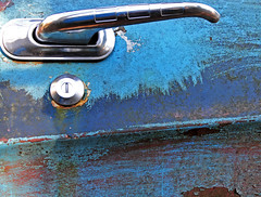 McLean's_0011 (janetliz) Tags: old cars handle rusty scrapyard decayed doorhandle tpmg autowreckers mcleans keyhold