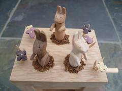 Bunnies 2012 (Wanda Sowry) Tags: wood uk flowers motion colour rabbit bunny bunnies art toy handle wooden movement handmade craft cams gift present british rabbits mechanism automata automaton