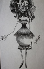 Anamia (SaintFrankenstein) Tags: girl pen skinny pretty sad drawing surrealism cartoon ugly anorexia bulimia