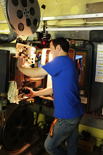Projectionist Ali Blaikie in the Projection room at Filmhouse 1