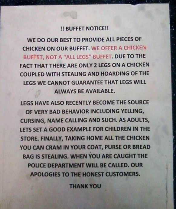 !!BUFFET NOTICE!! We do our best to provide all pieces of chicken on our buffet. We offer a chicken buffet, not a