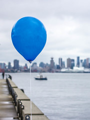 Blue Balloon (Jason Gallant.) Tags: city blue water metal vancouver clouds canon eos boat dock cityscape balloon cement northshore string burrard 40mm lonsdalequay 60d partyatthepier
