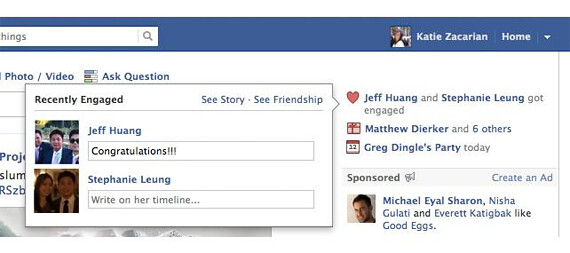 Facebook shows ecently engaged or married friends