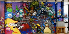 "This is a mural I did with Matt Schlosky and Hunter Armstrong at ""The Wallz"" gallery in Portland, OR (TLC<3) Tags: streetart art painting portland graffiti sticker mural paint stickers lostcause gimme moses spraypaint aerosol winston aerosolart tlc thelostcause winstonthewhale"