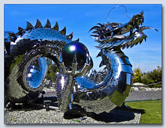 Stainless Steel Dragon (Martin Smith - taking a break) Tags: sculpture canada canon globe dragon bc richmond scales fraserriver stainless riverrockcasino s95 kevinstone pse9 stainlesssteeldragon chineseimperialwaterdragon