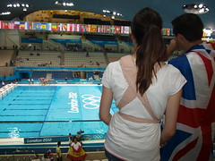 The Aquatics Centre, London 2012 Olympic Games (Paul-M-Wright) Tags: uk england london water pool swimming couple europe flag centre games swimmer olympic olympics unionjack 2012 aquatics london2012 09august2012
