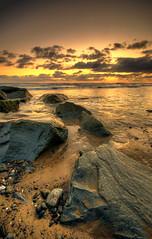 Rocks, Water and a Sunset (Howie Mudge LRPS) Tags: light sunset sea sky beach sand nikon goldenhour tywyn sigma1020mmf456 d7000 howiemudge