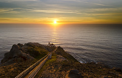 Life is too short to work so hard... (ferpectshotz) Tags: ocean sunset sun lighthouse fog pacific wind steps pointreyes mygearandme