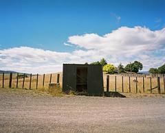 Matamata (@fotodudenz) Tags: new blue sky film clouds fence island sheep angle kodak north wide shed rangefinder zealand waikato medium format portra matamata 160 2014 mamiya7 43mm nz2014