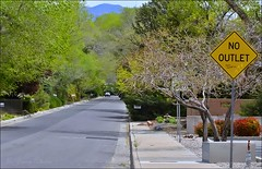 Flickr-Friday-No Outet (Jo Zimny Photos) Tags: road trees mountain shadows diamond sidewalk bushes deadend yellowsign nowayout nooutlet flickrfriday youcantgetoutofhere