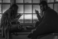 The young of today (Kathryns Photography) Tags: sunset window monochrome scenery view young mobilephones addiction windowframe windowseat iloveblackandwhite canon750d