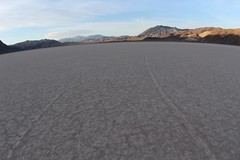 Two tracks of rocks in distance (daveynin) Tags: stone racetrack track path playa wilderness drylakebed slidingstones