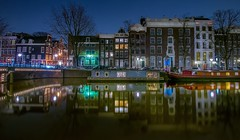 The blue house (karinavera) Tags: street city longexposure travel urban water netherlands colors amsterdam night reflections boats lights boat canals slowshutter nikond5300