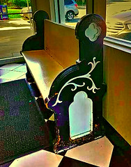 A Waiting Bench (creepingvinesimages - struggling to keep up!) Tags: old colors bench virginia topaz charlotteville tiptop hbm churchpew rstaurant restyle pse14 samsunggalaxys7edge