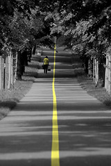 walk the line (Wackelaugen) Tags: road street trees woman sc yellow canon germany person photography eos photo alley line coloring ludwigsburg selective googlies walke wackelaugen
