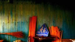 School zone (Bamboo Barnes - Artist.Com) Tags: blue school light shadow red orange green yellow japan painting landscape photo rust streetsign vivid broom zinc bamboobarnes