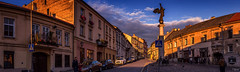 Sunset angel (grace.morgan100) Tags: sky city sunset street clouds architecture cityscape building golden statue oldtown angel vilnius lithuania