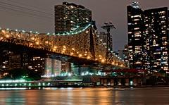 Ed Koch Queensboro Bridge with Tram (Lojones13) Tags: city bridge newyork skyline architecture night arch nocturnal tram citylights edkochqueensboroughbridge