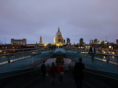 Millenium Bridge by night (wi-fli) Tags: city bridge blue england people london st cityscape cathedral unitedkingdom dusk pauls southwark bankside