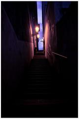 Untitled (Robert Smutny) Tags: lights evening fuji prague colorfull magenta fujifilm lamps stairways x100 wals