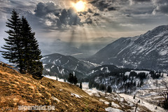 Morning sun, Rossfeld (alpenbild.de) Tags: morning schnee cloud sun mountain snow mountains alps tree salzburg nature water berg clouds river landscape bayern bavaria austria berchtesgaden sterreich spring wasser natur wolke wolken berge land alpen fluss landschaft sonne morgen baum hdr frhling morgens gebirge bgl berchtesgadener