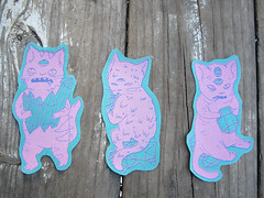 Psychic Cat Patches in blue (Akshully) Tags: monster cat print diy sticker screenprint punk plush psychic sewn holographic softsculpture creatrure