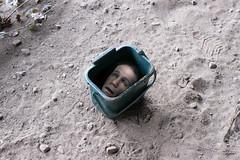 head in a recycle bin (Leeber) Tags: dead head bin recycle decapitated