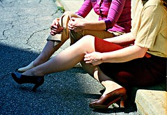 Candid Curb Shot 1 (neohypofilms) Tags: street camera ladies girls shadow red urban woman color cute sexy slr classic film colors stockings crimson sunshine lady corner 35mm vintage photography 50mm daylight workers nikon women 60s downtown raw toe colours shadows purple natural legs sweet maroon candid cleveland leg style polish gritty lunchtime 200iso retro blouse 1940s 70s heels styles casual peep 1960s 1970s expired pantyhose leggy skirts fm2 40s classy peeptoe