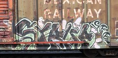 Syrup (Benching In The West) Tags: railroad train bench graffiti paint trains tags graff freight tagger rollingstock fr8 monikers moniker railfans