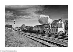 amble..................... (4macfotography) Tags: uk bridge autumn sky west sunshine station clouds train landscape mixed track pacific box smoke country platform rail railway steam pole southern locomotive signal telegraph freight embankment exhaust quorn wadebridge gcr sidings 34007