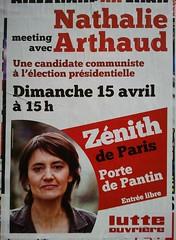 Meeting avec Nathalie Arthaud (emmanuelsaussieraffiches) Tags: poster political politique affiche lutteouvrire