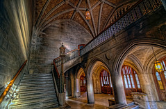 Seminary Stairway (rseidel3) Tags: chicago architecture stairs photoshop lights nikon university shadows entrance seminary hdr lightroom uofc d7000