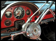 Fairlane Dash (Dusty_73) Tags: auto detail classic ford car wheel sedan vintage town steering interior style chrome dash guages 1956 56 fairlane
