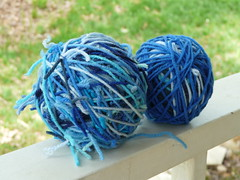 Yarn scraps left over the from the project (crochetbug13) Tags: crochet acrylic blue crocheted crocheting