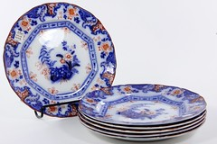 2014. Set of (6) Davenport Flo-blue Dinner Plates