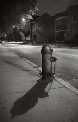 Double Shadow Hydrant (frntprchprss) Tags: blackandwhite night hydrant ma shadows easthampton